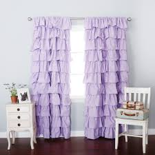 Lilac Blackout Large Waterfall Ruffle Curtain Soft and feminine ruffles are  a gorgeous addition to any