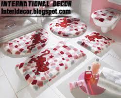 red bathroom rug set modern baths rug sets models colors and toilet cover