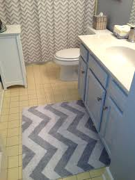 gray and yellow bathroom rugs grey chevron rug and shower curtain to update yellow tile bathroom