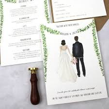 Wedding Invitation With Photo Personalised Couple Illustration Wedding Invitation