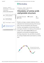 Mcat Amino Acid Chart 18 Chemistry Of Amino Acids And Protein Structure Studocu