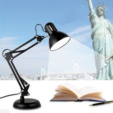 flexible swing arm clamp mount lamp office studio home table desk light w bulb