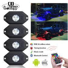 4x Wireless Mini Bluetooth Led Rgb Rock Lights Under Wheel