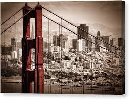 sepia canvas print san francisco through the bridge by matt trimble on sepia canvas wall art with sepia canvas prints fine art america