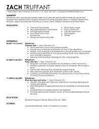 Licensed Esthetician Resume Sample