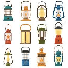 Vintage Camping Lantern Set Isolated On White Background Different