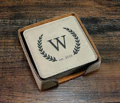 personalized leather coasters drink monogrammed coaster set