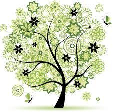 緑色の花のイラストフリー素材no161夏の樹木と蝶黄緑白