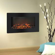wall mount electronic fireplace with flat panel and realistic