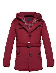 brilliant burdy cashmere wool blend hooded pea coat