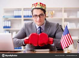 Businessman With American Flag In Office Stock Photo Elnur_