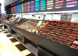 a long counter that showcases sephora s exclusive makeup s