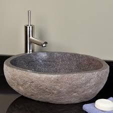 wiley walnut vessel sink vanity  river stones vessel sink