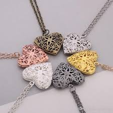 whole heart locket pendant necklace hollow out heart shaped alloy pendants women necklaces lockets fashion jewelry name pendant necklace necklace