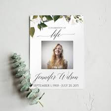 Celebration Of Life Program Template Funeral Program Template Floral Greenery Funeral Announcement Memorial Service Template Pdf 7006