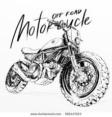 off road motorcycle poster illustration hand drawing sketch