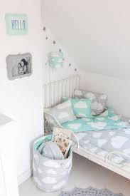 mint grey clouds children s bedding set
