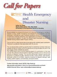research resources funding call for papers health emergency and disaster nursing hedn journal