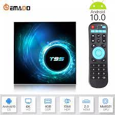 LEMADO Tivi Box Android 10.0 Youtube HD 6K Android TV Box Mới 2020 Smart TV Box  Android 10 Google tiếng Nói Trợ Lý T95 Set-top Boxes