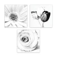 modern black white. Modern Black White Gray Framed Floral Wall Art Print Decor Set (3-Piece) W
