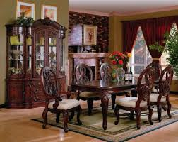 dining room table set with china cabinet. forth the kind of beauty reserved only for master dining room. china cabinet features touch lighting, drawer stops, dust cover, and 3 can lights. room table set with