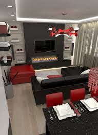 Live Room Design Black And Silver Themed Living Room