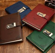 leather book binding s pu stationery notebook retro password book with lock diary thread installed
