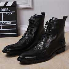 popular lace wedding boots black buy cheap lace wedding boots Wedding Boots Black 2017 fashion autumn men ankle boots pointed toe botas hombre lace up botas militares black wedding wedding shoes block heel