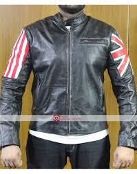 dual flag 2018 mens uk usa vintage leather jacket