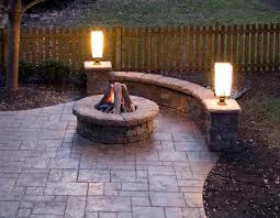 stamped concrete patio with fireplace. Stamped Concrete Patio, Gas Fire Pit, Stone Walls And Lighting Traditional- Patio With Fireplace N