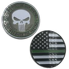 The punisher's logo has become a popular symbol among police officers, military servicemen and now, even politicians. Thin Green Line Punisher Remember Challenge Coin Border Patrol Army Sheriff Magnets Kitchen Home