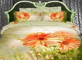 100 cotton orange daisy flower print with light green duvet cover 4 piece bedding sets beddinginn com