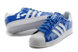mens adidas originals superstar ii patent leather sneakers blue white d65603