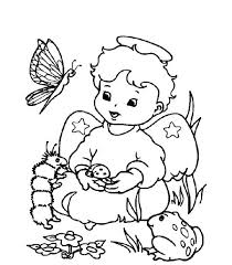 cute little christmas angel with animals coloring pages   angel    cute little christmas angel with animals coloring pages
