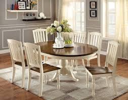 cm3216ot 7pc 7 pc harrisburg oval round vintage white and dark oak finish wood dining table set