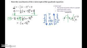 quadratic equations find x intercepts from vertex form