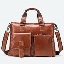 <b>CARANFIER</b> Men Briefcase <b>Genuine Leather</b> Laptop Business ...