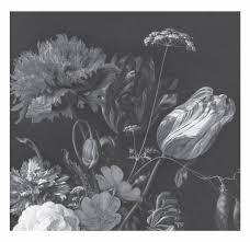 Golden Age Flowers Zwart Wit Vliesbehang 2922x280cm 6 Sheets
