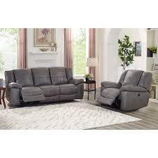 ace grey top grain leather lay flat power reclining sofa and chair