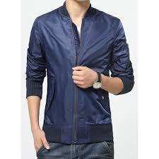 fashion stand collar patch pocket rib spliced zipper design long sleeves mens slimming jacket 20457 jv