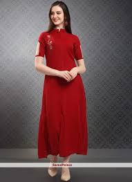 Red Net Dress Design Rayon Red Handwork Party Wear Kurti