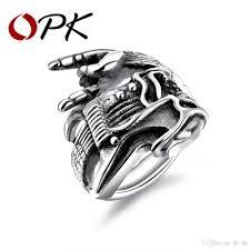 2018 whole opk punk men s biker ring b horned hand design snless steel antique white gold color male boy finger band gj602 from de de