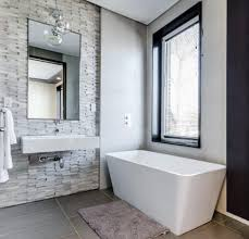 freestanding bathtub in white modern style design bathroom