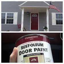 painting outdoor metal doors. always wanted a red front door. paint is from lowes- rust oleum cranberry satin painting outdoor metal doors d