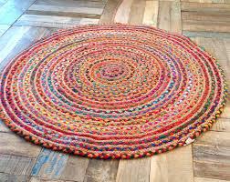 vibrant round rag rug fair trade multi coloured cotton jute 1 2 or 5