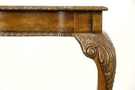 maitland smith signed vintage carved hall console table tooled leather top