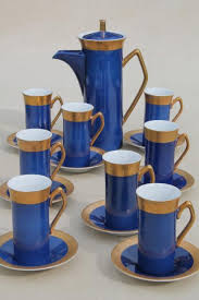Buy online get free delivery on orders $45+. Vintage Japan Fine China Espresso Set Coffee Pot Tall Cups In Cobalt Blue W Gold