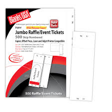 Perforated Raffle Ticket Sheets Micro Perforated Jumbo Event Raffle Ticket Ltj4 Blanks Usa