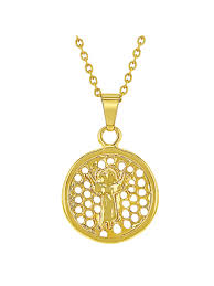 in season jewelry 18k gold plated round openwork divine child medal pendant necklace kids 16 com
