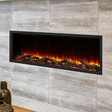 electric fireplace insert with open front log set included 120v 240v plugin or hardwire all led technology